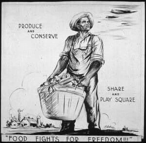 In a black-and-white drawing, an African American farmer holds a basket of food while warplanes fly overhead.