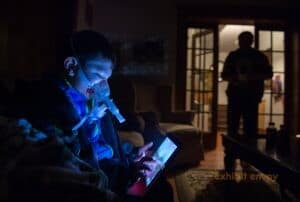 Daniel Iniguez uses a nebulizer every morning to inhale medicine (Ontario)