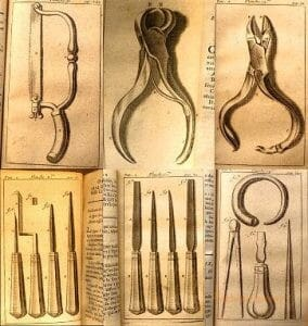 Six different drawings show old surgical tools.